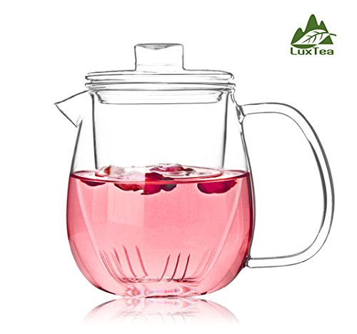 Luxtea Glass Teapot Heat Resistant Jug Borosilicate Infuser Scented Tea Kettle With A Glass Filter Can Hold 600ml/21.4oz For Loosing Tea leaves (Heat Resistant Glass Tea Kettle compare prices)