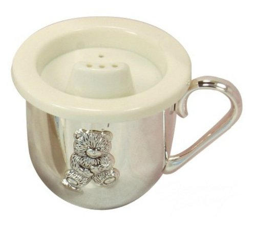 Classic Silver-plate Baby Cup with Teddy Bear