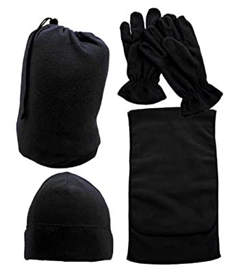 Simplicity Winter Fleece Beanie Skull Hat Scarf Gloves Bag Ski Snow Set, Black