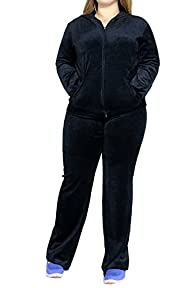 FandS-JO23019 Women's Fashion Hoodie Velour 2 piece Set