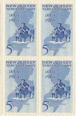New Jersey Tercentenary Set of 4 x 5 Cent US Postage Stamps NEW Scot 1247