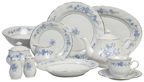 Lynns Blue Rose 49-Piece Dinnerware Set Service for 8 Review  sc 1 st  Dinnerware Sets best price & Lynns Blue Rose 49-Piece Dinnerware Set Service for 8 | Dinnerware ...