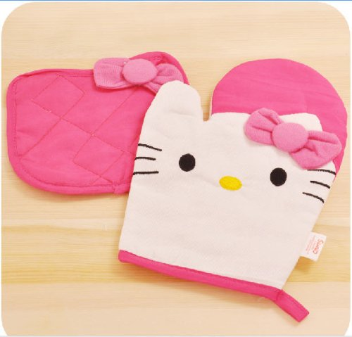1 X New Kitchenwear- Oven Mitts & Pot Holders Set of 2-hello Kitty Style by 3Cshop (Hello Kitty Oven Mitt compare prices)