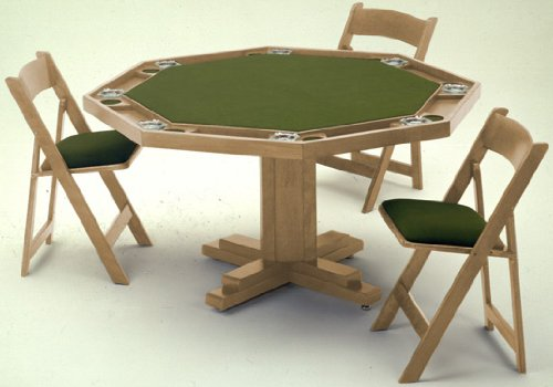 Kestell Poker Table - Pedestal Base Oak Wood 52 Inch