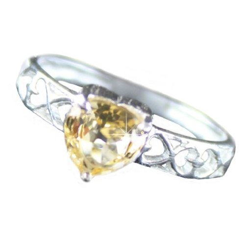 .925 Sterling Silver Citrine Heart Ring (7)