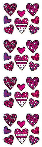 Jillson Roberts Prismatic Stickers, Mini Valentine Pattern Hearts, 12-Sheet Count (S7597)