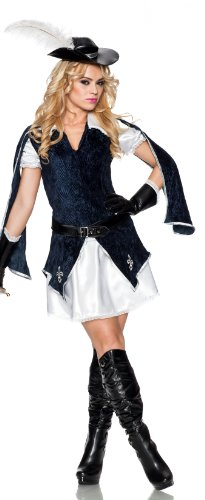 [Delicious All For One Costume, Blue/White, Large] (Women Musketeer Costumes)