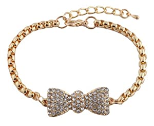 Gold Iced Out Bow Tie Shamballah Box Chain Adjustable Bracelet