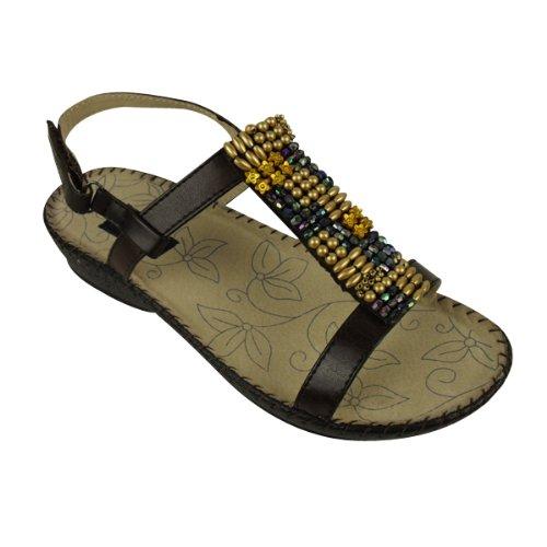 Ladies Leather Brown Wedge Beaded Sandals Gladiator