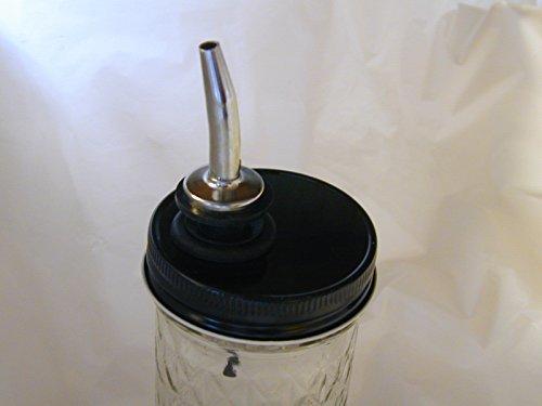 Mason Liquor/Oil Pour Spout Dispenser Converter -Chrome Spout with Black Lid (Jar Pour Lid compare prices)
