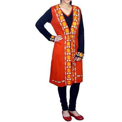 Amaira Women's Casual Embroided Woolen Kurti (XXX-Large, Orange)
