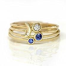 buy Crescent Moon, Sapphire, And Diamond Ring Set