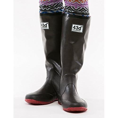 43Degrees レインブーツ パッカブル 折りたたみ 長靴 メンズ レディース 雨靴 リボン インソール フェス D.BROWN Lサイズ