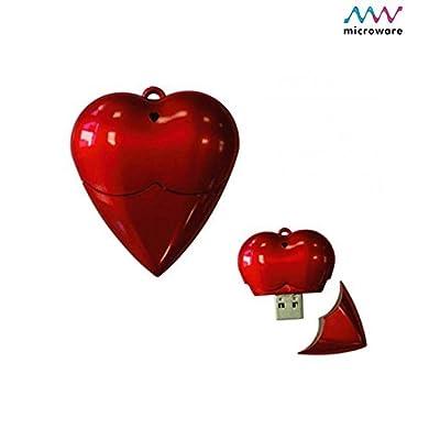Microware 16GB Red Plastic Heart ShMicroware Designer Pendrive