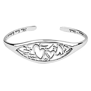 "Mother's Day Gifts:Sterling Silver ""The Love Between A Mother and Daughter Knows No Distance"" Heart Cuff Bracelet"