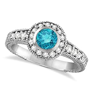 0.80ct Womens Fancy Blue Diamond and White Diamond Antique Style Halo Cocktail Ring 14k White Gold