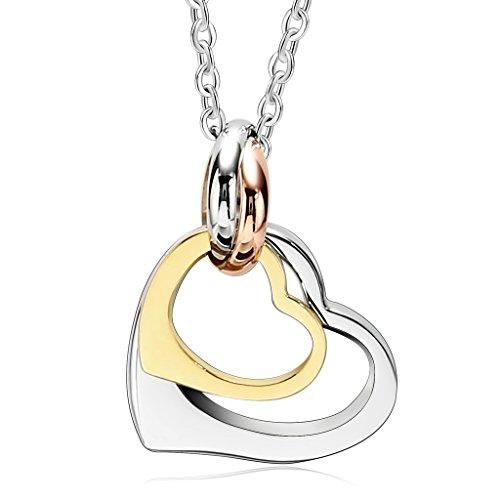 Bishilin Acciaio Inossidabile Matching Cerchio Anello Catenina Ciondolo Amicizia Oro Coppia Cuore Pendente per Lui e Leis Argento Oro