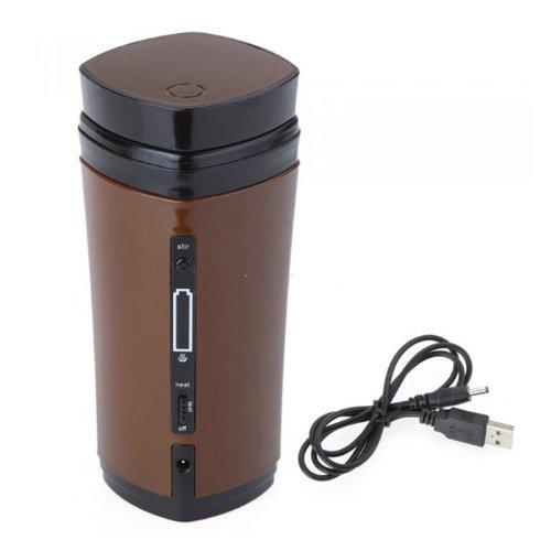 Toworld18 Usb Powered Coffee Warmer Cup Rechargeable Tea Milk Mug Automatic Stir Portable Brown