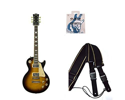 Montreux Sunburst Chitarra Elettrica Les Paul stile lp by Quincy (a 6corde) + 1set di corde per chitarra elettrica + 1nero Tracolla per chitarra classica