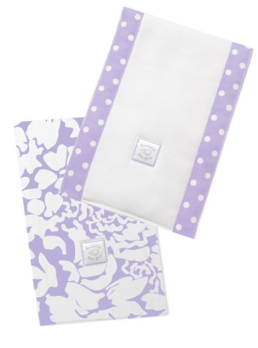 SwaddleDesigns Baby Burpies, Lavender Lush (Set of 2 Burp Cloths)