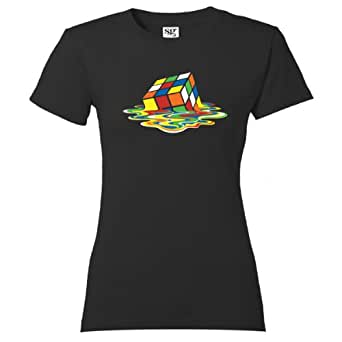 Big Melting Rubiks Cube womens T Shirt Bang Inspired by Sheldon Cooper from Theory- FREE postage to mainland United Kingdom (X small)