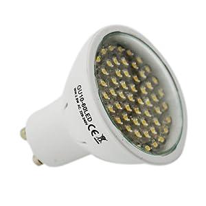 GU10 LED 3W GU10 BOMBILLA CON 60 BRIGHT LED Super LED BOMBILLAS - Las más brillantes BOMBILLAS SMD EMISORES DISPONIBLE 220 lumens - extremadamente brillante y ideal para reemplazar 40W - halógenas de 50W (blanco cálido)