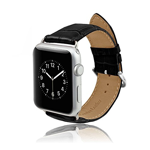 MPTECK ® sostituzione 42 mm Nero pelle Watch Cinturino per intelligente orologio smart watch Apple Watch APPLE WATCH II apple watch Series 1 Series 2 Serie 1 2