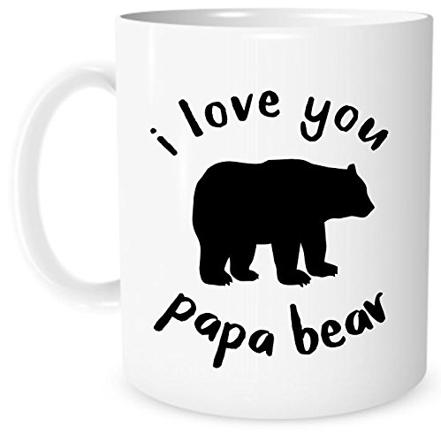 The Coffee Corner - I Love You Papa Bear - 11 Ounce White Ceramic Tea Cup - Unique Gift Idea - Birthday Present Idea for Grandpa, dad, Father- Gift for Grandparents