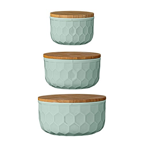 Bloomingville Ceramic Bowl Set with Bamboo Lids, Mint Green (Ceramic Bread Bowl compare prices)