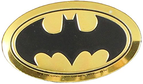 DC Comics Originals Batman Logo On Embossed Metal Emblem Sticker, Yellow, 4cm