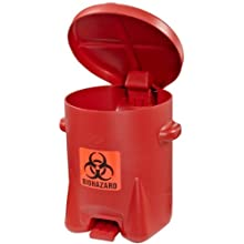 Eagle Polyethylene Biohazardous Waste Safety Can with Foot Lever