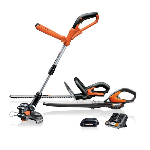 WORX WG913.51 3-Piece 18 Volt Lithium-Ion Cordless Combo Kit With Blower, String Trimmer & Hedge Trimmer
