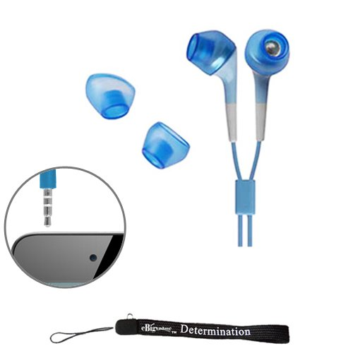 Ebigvalue Blue Crystal Clear Hd Noise Cancelling Earbuds Earphones For New Apple Ipod Touch 4 ( 4Th Generation 8Gb, 16Gb, 32Gb )