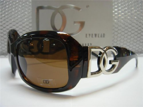 DG Eyewear Sunglasses Brown 26163 with the bag