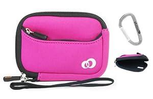 On the go Travel Camera Bag Soft Sleeve Case Pouch for Nikon Coolpix S01 10.1-Megapixel Digital - Magenta / Hot Pink. Bonus Ekatomi Screen Cleaner Sticker