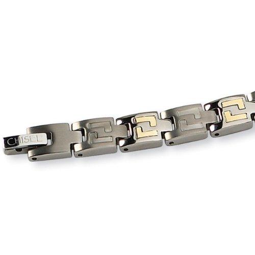 Chisel 14K Gold Inlay Brushed Titanium Bracelet – 8.5 Inches
