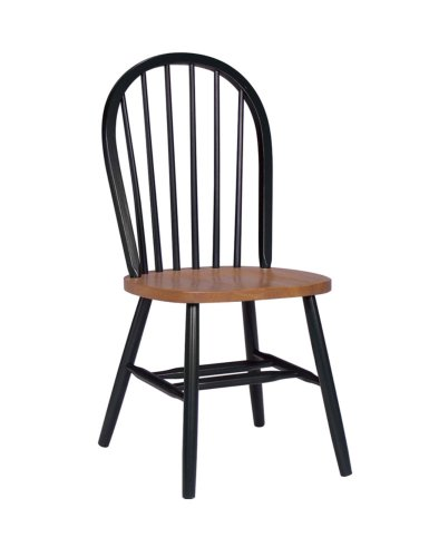 International Concepts C57-212 37-Inch High Spindle Back Chair, Black/Cherry front-304686