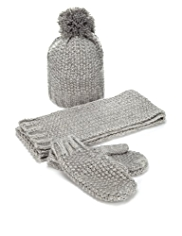 Knitted Hat, Scarf & Mittens Set