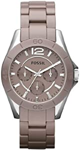 Women Watch Fossil CE1065 Ceramic Case and Bracelet Crystals Quartz Chronograph