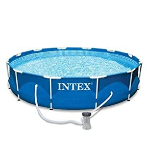 intex frame metal pool 12x33 above ground swimming pools patio lawn garden. Black Bedroom Furniture Sets. Home Design Ideas