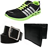 Super Men COMBO Pack Of 3 Canvas Sports Shoes With Wallet & Belt