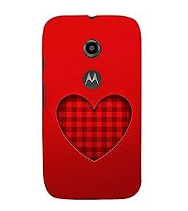 EPICCASE checked heart Mobile Back Case Cover For Moto E 2nd Generation (Designer Case)
