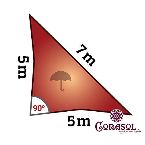 Corasol COR11RA5-RR - Vela de sombra para patio (resistente al agua), color rojo, 5 x 5 x 7 m
