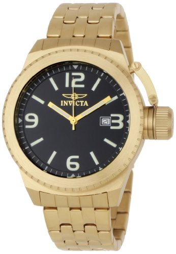 Invicta Men's 0991 Corduba Black Dial 18k Gold-Plated Stainless Steel Watch