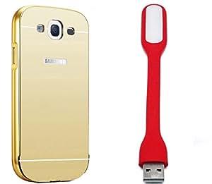 Novo Style Back Cover Case with Bumper Frame Case for Samsung Galaxy E5 Golden + Mini USB LED Light Adjust Angle / bendable Portable Flexible USB Light