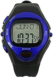 Kalevel Sports Pulse Rate Monitor Watch Calorie Counter Digital Wrist Watch Waterproof with Alarm Calendar Stopwatch (Blue)