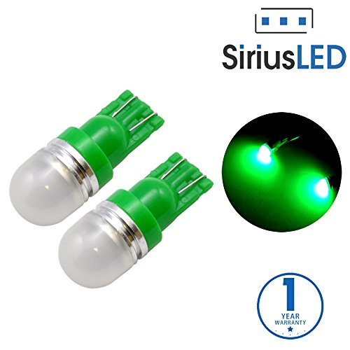 SiriusLED Super Bright 1 W LED Bulbs with 360 Degree Projection for Car Interior Lights Gauge Instrument Panel Dome Map Side Marker Door Courtesy License Plate T10 168 192 194 2825 W5W Green (Car Charger Green Led Lights compare prices)