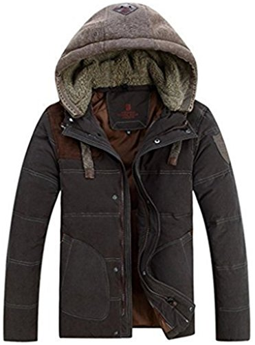 Top-EC Men's Thicken Down Winter Coats Trench Jacket Hooded,US(X-Large)/ASIAN-3