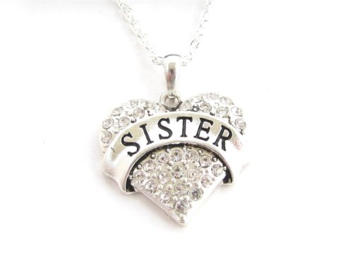 Sister Clear Crystals Silver Chain Fashion Heart