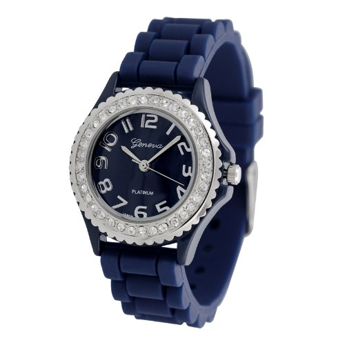 Navy Blue Geneva Silicone Ceramic Style Band Crystal Bezel Women's Watch – S Size